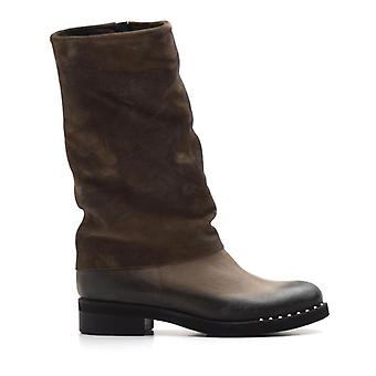 Brown Leather Sivale With Suede Leg