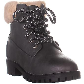 Madden Girl Womens Frannkie Faux Fur Closed Toe Ankle Cold Weather Boots