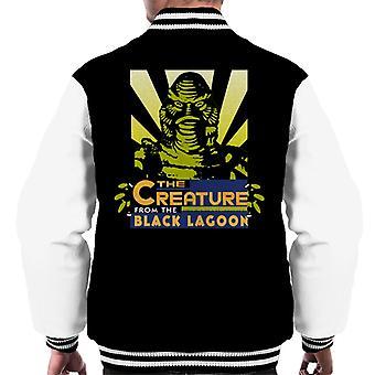 A criatura da cabeça da abelha da lagoa negra homens'jaqueta varsity
