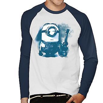 Despicable Me Stuart der Minion Gitarre Kunst Männer's Baseball langärmelige T-Shirt