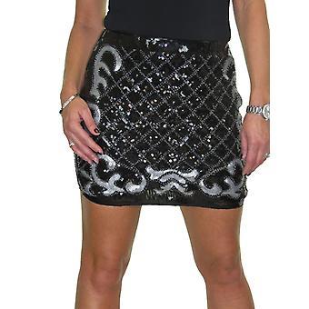 Femmes's Party Bodycon Mini Sequin Jupe Ladies Club Stretch Sparkle Pencil Jupe 8-14