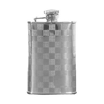 Silver Chequered Design Hip Flask