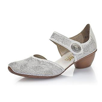 Rieker 43767-80 Newark Low Heel Ankle Strap Summer Shoes In White