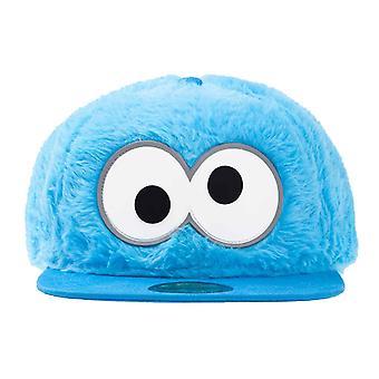 Cookie Monster Baseball Cap Novelty Fur Eyes new Official Blue Snapback