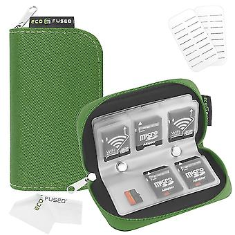 Eco-fused memory card carrying case - suitable for sdhc and sd cards - 8 pages and 22 slots - microf