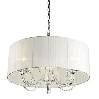 Klassieke hangende hanghanger Chrome 3 Licht met witte schaduw, E14