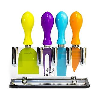 Viners Coloured 4 Piece Cheese Knife Set With Stand