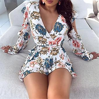 Stampa hollow out Short Romper senza schiena