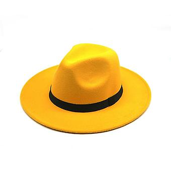 فيدورا هات & فيلت كاب واسعة بريم السيدات قبعة، الجاز الكنيسة عراب سومبريرو قبعات