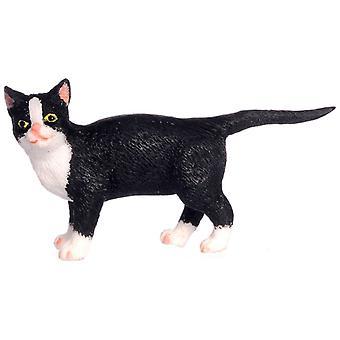 Puppen Haus schwarze Katze weiß Socken Walking Miniatur 01:12 Zubehör Haustier