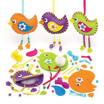 Baker ross spring themed bird decoration sewing kits (pack of 3) for kids to make and decorate