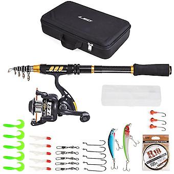 Lixada Fishing rod set Fishing Rod and Reel Combo Carbon Fiber Telescopic Fishing Rod