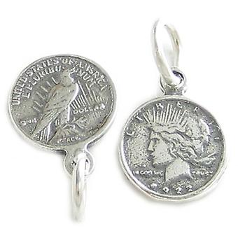 Fred Silver Dollar Tiny Sterling Silver Charm .925 X 1 Dollar Charms - 4226