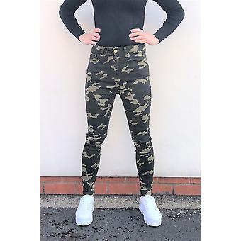 Skinny Camouflage Stretch Jeans Short Leg - Dark Green