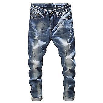 Muži Slim Fit Světle modré Stretch Streetwear Hip Hop Distressed Casual Denim