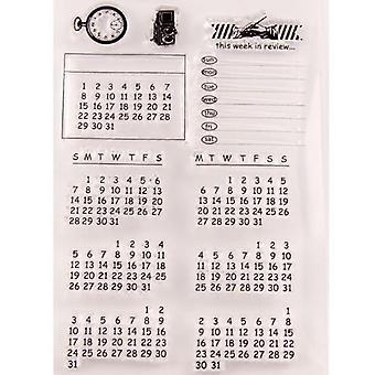 Vintage Digital Calendar List Clear Stamps - Transparent Silicone Seal