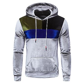 Men's Color Matching  Hooded 3d Pullover With Patch Pocket