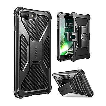 i-Blason Case for iPhone 7 Plus/ 8 Plus 2017, Transformer Kickstand Heavy Duty Dual Layer Combo Holster Cover case with Locking Belt Swivel Clip (Black)