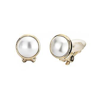 Traveller Pearl Clip Earrings  10mm White  gold plated - 113364