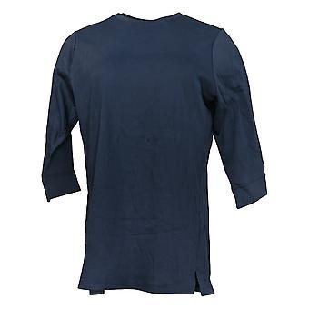 Denim & Co. Women's Petite Essentials 3/4 Sleeve Tunic Blue A388539