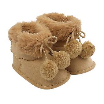 Baby Winter Warm Snow Boots - Kids Soft Sole Cotton Fur Lined Pom Pom
