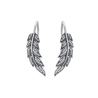 Silver feather drop earrings