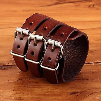 Men's Adjustable Genuine Leather Cuff Bracelet, Punk Rock Jewelry, Three Layers
