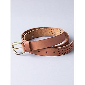 Lazer Cut Leather Belt in Tan