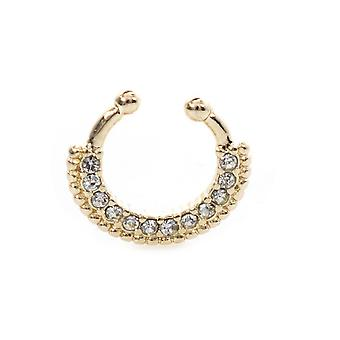 Septum hanger nose non-piercing jewelry 10 mm drop length with multiple cz stone
