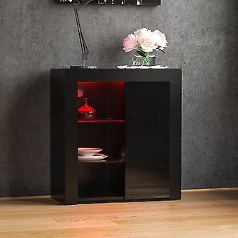 Azura 1 Door LED Sideboard High Gloss Cabinet, Black