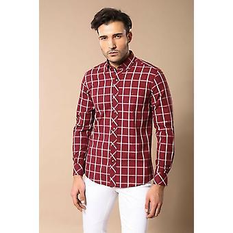 Plaid slim fit burgundy shirt