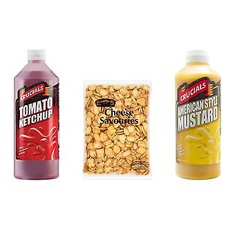 Crucials Kit with 3 Products, Crucials Ketchup, American Mustard 500ml, Crawford's Cheese Savouries 300G