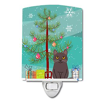 Caroline s Schätze Chartreux Katze Frohe Weihnachtsbaum Keramik Nachtlicht, 6 x 4, mehrfarbig