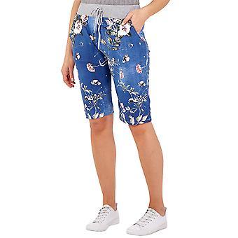Womens Dark Denim Bloemen Zachte Slouch Shorts   Blauwe   One Size