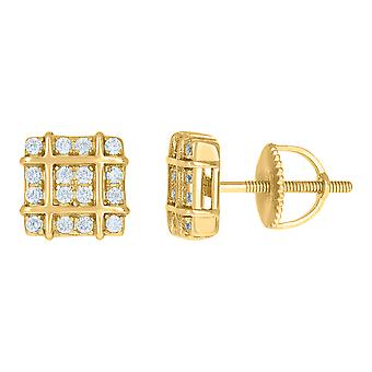 925 Sterling Silver Yellow tone Mens Cubic zirconia Square Fashion Stud Earrings Jewelry Gifts for Men