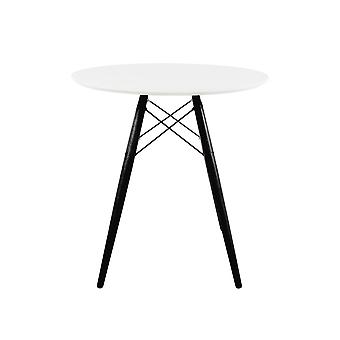 Fusion Living Eiffel Inspired Small White Circular Dining Table With Black Wood Legs