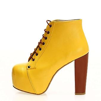 Yellow Leather Thick Heeled Boots Women Ra20-01