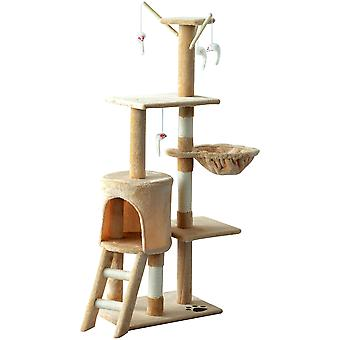 PawHut Cat Tree Kitty Activity Centre Scratcher Climbing Pet Scratching Post with Toys 5-tier 131cm Tall Beige