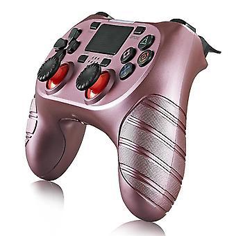 Draadloze controller geschikt voor Playstation 4 met trilfunctie - roze