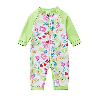 Baby Girls One PieceSwimsuits UPF 50+ Sun Protection 3/4 Sleeves Full-zip Sunsuit