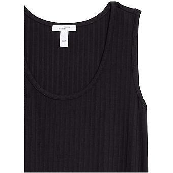 Märke - Daily Ritual Kvinnors Rayon Spandex Wide Rib Sleeveless Scoop-Neck T-Shirt Klänning