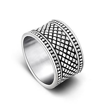 Creative Personality Rings Grid Sub-grain Wide Version Titanium Steel Ring Men's And Women's Middle Finger Ring Sa778
