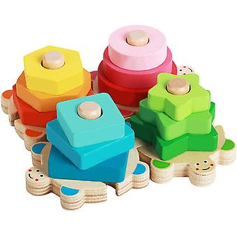 Wooden Sorting & Stacking Kids Toys,shape Color Recognition Stacker