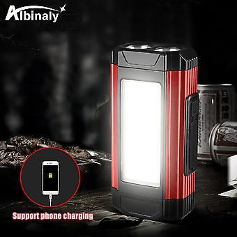 A-Rot Multifunktionaler LED-Strahler USB wiederaufladbare Camping Laterne Taschenlampe  Tragbare Strahler