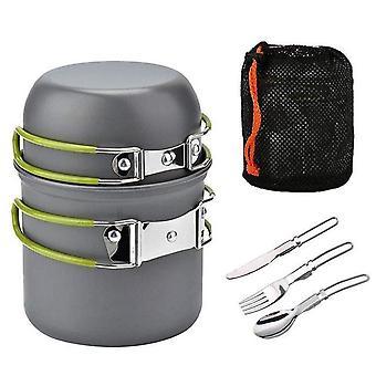 Outdoor camping cookware set portale tableware cooking travel cutlery utensils pot pan hiking picnic tools orange handle