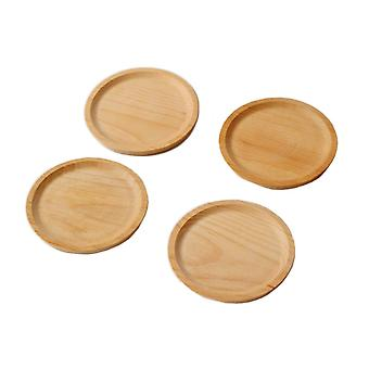 5.5 Round Natural Beech Wooden Serving Dishes Tray