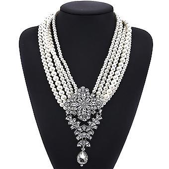 Kobiety Naszyjnik Wielowarstwowy Pearl Crystal Gem Alloy Wisiorek na prezent urodzinowy