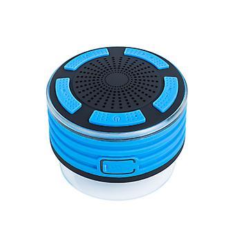 Alto-falante de chuveiro, rádio sem fio de alto-falante bluetooth certificado IPX7 com som de alta definição, subwoofer, rádio FM e efeito LED colorido, mais adequado para chuveiro, banheiro, cozinha, piscina, praia e exterior (Azul)