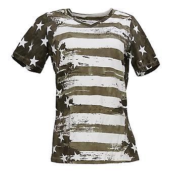الدنيم وشركاه المرأة الأعلى العلم الأمريكي طباعة قصيرة الأكمام الخامس الرقبة الخضراء A291647