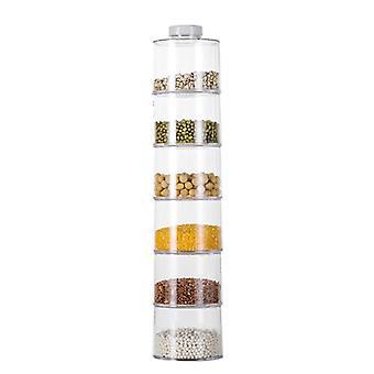 6Pcs/Set Spice Jar Pepper Shaker Box Spice Tower Transparent Seasoning Cans Kitchen Condiment Bott
